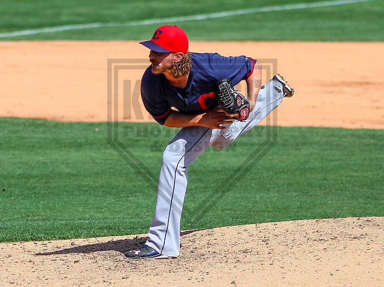 GLENDALE - March 2015: Josh Tomlin (43) of the Cleveland Indians during a spring training game against the Los Angeles Dodgers on March 17th, 2015 at Camelback Ranch in Glendale, Arizona. (Photo Credit: Brad Krause)