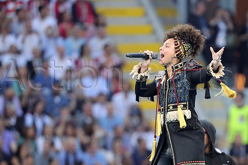 28.05.2016. Milan, Italy.  US singer Alicia Keys performs before the UEFA Champions League Final between Real Madrid and Atletico Madrid at the Stadio Giuseppe Meazza in Milan, Italy, 28 May 2016.
