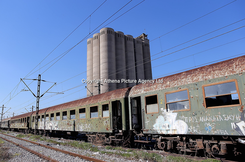 Pictured: One of the disused trains used by migrants to live in at the OSE freight depot in Thessaloniki, Greece. Wednesday 05 April 2017<br /> Re: A year after an agreement was signed between Greece and Turkey for the management of refugees. Migrants, mostly from Morocco, Algeria and Tunisia, have been living in disused train carriages at the Thessaloniki freight depot of OSE in northern Greece, the company managing the railways in the country. Some of the migrants climb onto moving trains, or even hide themselves in storage areas, hoping that they will cross the border.