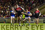 Peter Crowley Kerry in action againstConor O'Shea Mayo in the National Football league at Austin Stack Park, Tralee on Saturday night.