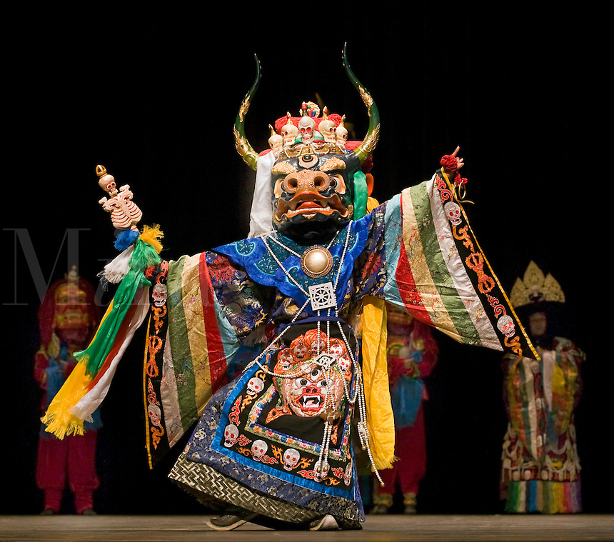 YAK DANCER during MONGOLIAN NIGHT at a DALAI LAMA teaching in October 2007 sponsored by KUMBUM CHAMTSE LING & the TIBETAN CULTURAL CENTER - BLOOMINGTON, INDIANA