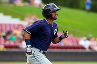 Lake County Captains infielder Ordomar Valdez (20) runs to first base during a Midwest League game against the Wisconsin Timber Rattlers on July 24, 2016 at Fox Cities Stadium in Appleton, Wisconsin. Lake County defeated Wisconsin 6-2. (Brad Krause/Four Seam Images)