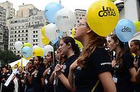 SAO PAULO, 24 DE JULHO DE 2012 - ALCKMIN LEI DE COTAS - ato público que celebra os 21 anos da Lei de Cotas, no Pátio do Colégio, regiao central da capital, na manha desta terca feira. FOTO: ALEXANDRE MOREIRA - BRAZIL PHOTO PRESS