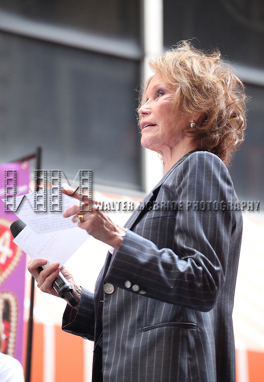 Mary Tyler Moore .onstage at Broadway Barks 14 at the Booth Theatre on July 14, 2012 in New York City. Marking its 14th anniversary, Broadway Barks!, founded by Bernadette Peters and Mary Tyler Moore helps many of New York City's shelter animals find permanent homes and also inform New Yorkers about the plight of the thousands of homeless dogs and cats in the metropolitan area.