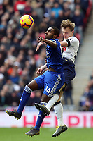 Ricardo Pereira of Leicester City and Oliver Skipp of Tottenham Hotspur during Tottenham Hotspur vs Leicester City, Premier League Football at Wembley Stadium on 10th February 2019