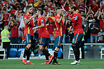 Spain national team players celebrate goal during UEFA EURO 2020 Qualifier match between Spain and Sweden at Santiago Bernabeu Stadium in Madrid, Spain. June 10, 2019. (ALTERPHOTOS/A. Perez Meca)