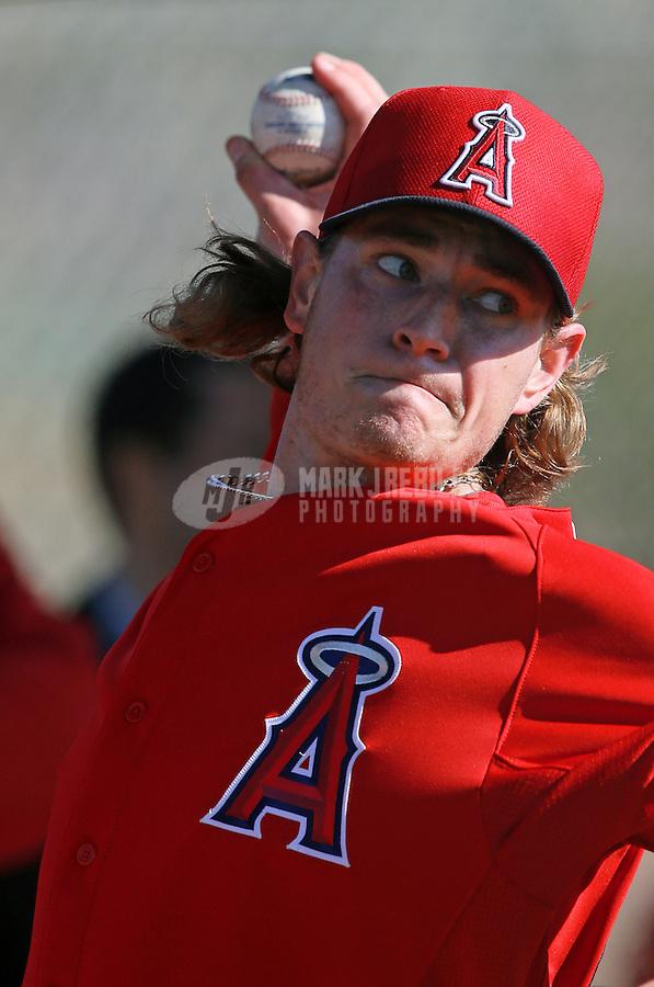 Feb. 12, 2013; Tempe, AZ, USA: Los Angeles Angels pitcher Garrett Richards throws during spring training at Tempe Diablo Stadium. Mandatory Credit: Mark J. Rebilas-USA TODAY Sports