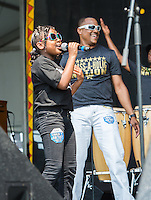 The Brass-A-Holics perform at the 2014 New Orleans Jazz and Heritage Festival in New Orleans, LA.