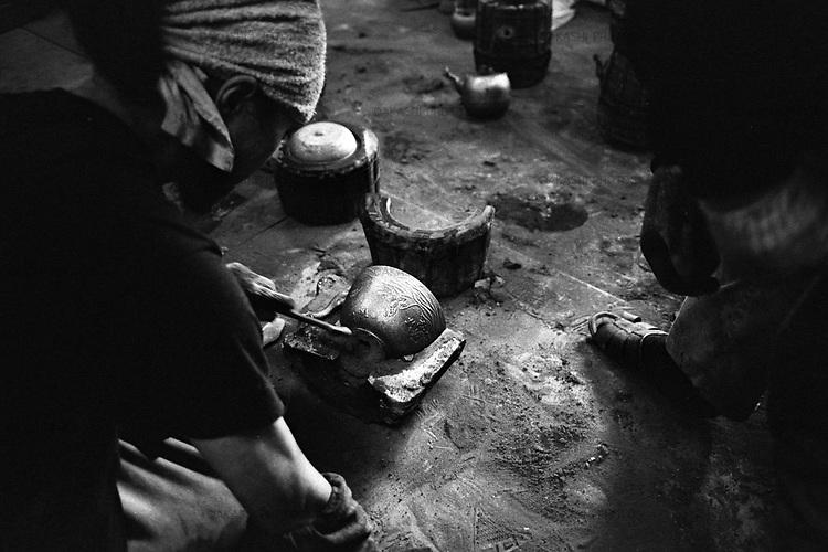 Iron teapot, Nanbu Testubin, is made in Kunzan workshop in Morioka.