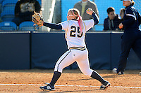 13 February 2010:  FIU's Kelsey Grabiak (25) throws to first as the FIU Golden Panthers defeated the University of Illinois (Chicago) Flames, 2-1, at the University Park Stadium in Miami, Florida.