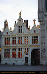 Civil Registry at Dawn, Renaissance Facade 1543, Burg Square, Bruges, Brugge, Belgium