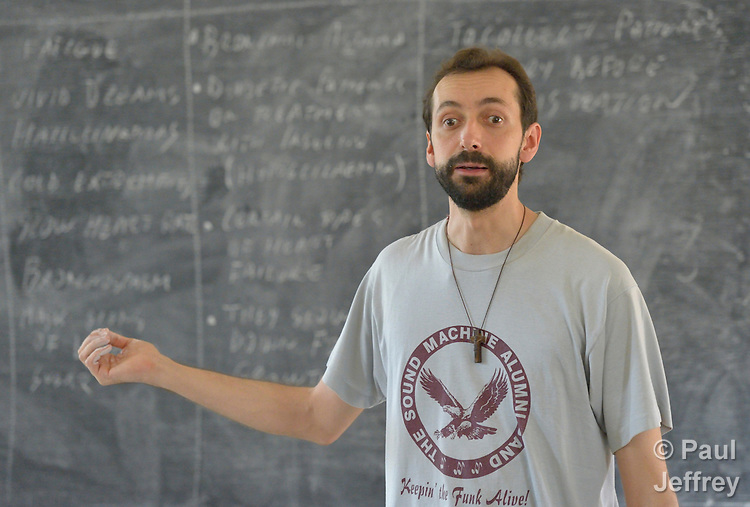 Paolo Rizzetto teaches a class at the Catholic Health Training Institute (CHTI) in Wau, South Sudan. Run by Solidarity with South Sudan, an international network of Catholic organizations supporting the development of the world's newest country, the CHTI trains nurses and midwives from throughout the country. Brother Rizzetto, an Italian physician who is a Comboni missionary, is vice principal of the institute.