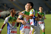 IBAGUÉ - COLOMBIA, 03-03-2018: Omar Duarte (Der) jugador del Atlético Huila celebra después de anotar un gol a La Equidad durante partido por la fecha 6 de la Liga Águila I 2018 jugado en el estadio Manuel Murillo Toro de Ibagué. / Omar Duarte (R) player of Atletico Huila celebrates after scoring a goal to La Equidad during match for date 6 of the Aguila League I 2018 played at Manuel Murillo Toro stadium in Ibague city. Photo: VizzorImage / Juan Carlos Escobar / Cont