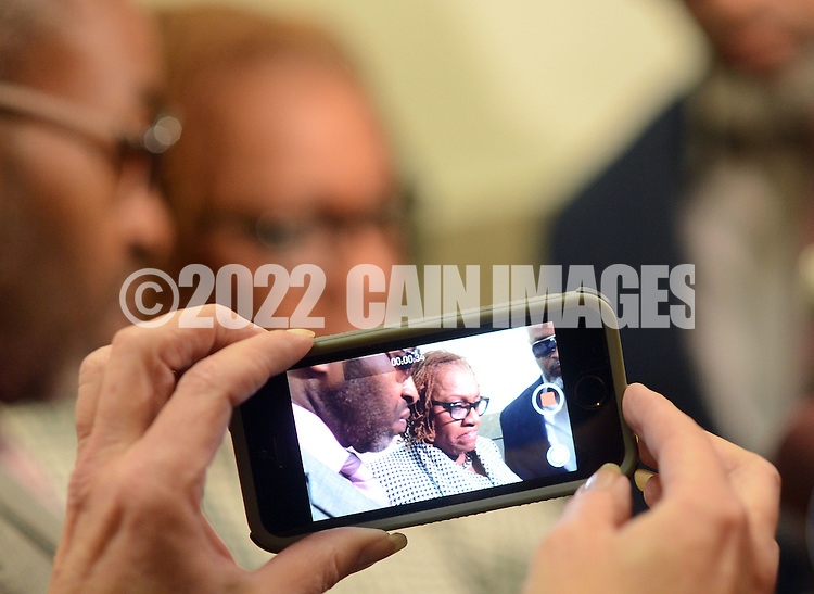 NORRISTOWN, PA - OCTOBER 30: Pennsylvania state Sen. Leanna Washington is photographed by a reporter as she makes a statement after sentencing at the Montgomery County Courthouse October 30, 2014 in Norristown, Pennsylvania. (Photo by William Thomas Cain/Cain Images)