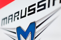 March 14, 2014: Signage at the Marussia F1 Team garage at the 2014 Australian Formula One Grand Prix at Albert Park, Melbourne, Australia. Photo Sydney Low.
