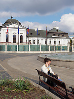 Frau mit Handy, Grassalkovich Palast und Brunnen am Hodzovo nam. in Bratislava, Bratislavsky kraj, Slowakei, Europa<br /> Woman with mobile , Grassalkovich palace and fountain at Hodzovo nam., Bratislava, Bratislavsky kraj, Slowakia, Europe