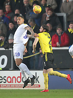 Burton Albion's John Brayford jumps with  Coventry City's Jonson Clarke-Harris <br /> <br /> Photographer Mick Walker/CameraSport<br /> <br /> The EFL Sky Bet League One - Burton Albion v Coventry City - Saturday 17th November 2018 - Pirelli Stadium - Burton upon Trent<br /> <br /> World Copyright &copy; 2018 CameraSport. All rights reserved. 43 Linden Ave. Countesthorpe. Leicester. England. LE8 5PG - Tel: +44 (0) 116 277 4147 - admin@camerasport.com - www.camerasport.com