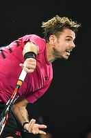 January 26, 2017: Stan Wawrinka of Switzerland in action in a semifinals match against Roger Federer of Switzerland on day 11 of the 2017 Australian Open Grand Slam tennis tournament in Melbourne, Australia. Photo Sydney Low