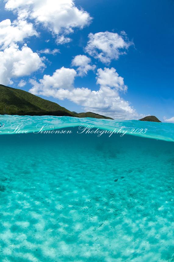 Split level view of Leinster Bay.Virgin islands National Park.St. John, U.S. Virgin Islands