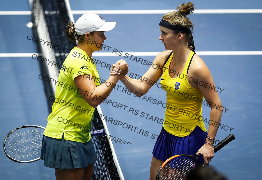 Tennis Tenis<br /> Fed Cup World Group II-First Round<br /> Ukraine v Australia<br /> Elina Svitolina (UKR)-Ashleigh Barty (AUS)<br /> Ashleigh Barty (L) shake hands with Elina Svitolina <br /> Kharkiv, 11.02.2017.<br /> foto: Srdjan Stevanovic/Starsportphoto &copy;