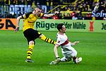 09.03.2019, Signal Iduna Park, Dortmund, GER, 1.FBL, Borussia Dortmund vs VfB Stuttgart, DFL REGULATIONS PROHIBIT ANY USE OF PHOTOGRAPHS AS IMAGE SEQUENCES AND/OR QUASI-VIDEO<br /> <br /> im Bild   picture shows:<br /> Torschuss von Marius Wolf (Borussia Dortmund #27) wird von Christian Gentner (VfB Stuttgart #20) geblockt, <br /> <br /> Foto &copy; nordphoto / Rauch