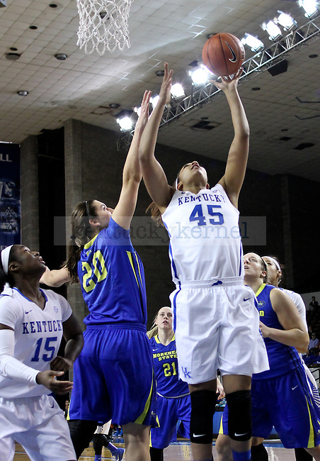 Kentucky center Alyssa Rice takes a short shot during the second half of the UK Hoops vs. Morehead State women's Basketball game at Memorial Coliseum in Lexington , Ky., on Tuesday, November 18, 2014. Photo by Jonathan Krueger | Staff