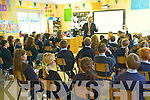 MEP Sean Kelly answering questions to the senior classes at Kilcummin National School on Friday last about his work, the GAA, the European Parliament and his time at Kilcummin National School.