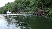 NWA Democrat-Gazette/FLIP PUTTHOFF <br /> Bland wade-fishes Sept. 25 2015 on the War Eagle River.