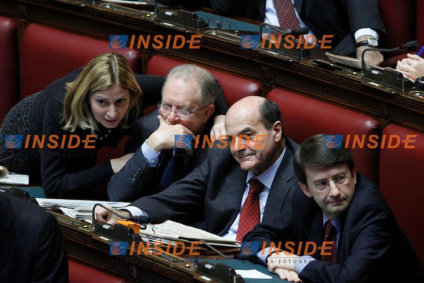 Il Segretario del Pd Pier Luigi Bersani e Dario Franceschini..Voto di Fiducia alla Camera dei Deputati sulla nuova Manovra Economica..Roma 16 Dicembre  2011..Photo Serena Cremaschi Insidefoto..............................
