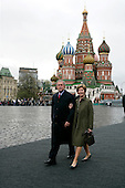 United States President George W. Bush and first lady Laura Bush enter Red Square in Moscow, Russia before he start of a military parade honoring the 60th anniversary of the end of World War II Monday, May 9, 2005.  <br /> Credit: Eric Draper - White House via CNP