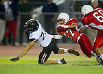 Lawndale, CA 09/26/14 - Andrew Ramirez (Lawndale #17) and  Rory Hubbard (Peninsula #22) in action during the Palos Verdes Peninsula vs Lawndale CIF Varsity football game at Lawndale High School.  Lawndale defeated Peninsula 42-21