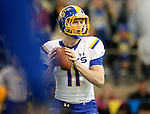 BROOKINGS, SD - APRIL 25: South Dakota State University quarterback Tyler Finnes, #11, playing for Blue, looks for a receiver in their Spring Game Saturday afternoon at the Sanford Jackrabbit Athletic Facility in Brookings. (Photo by Dave Eggen/Inertia)