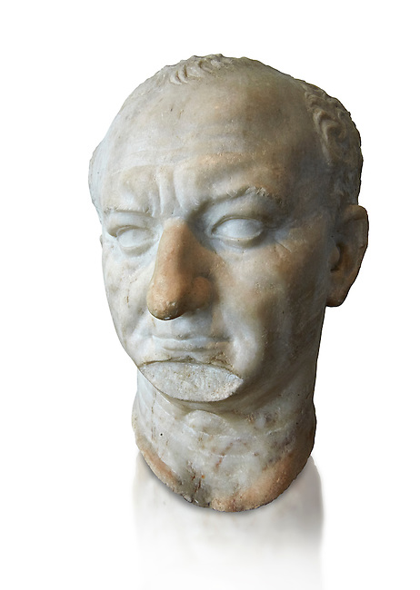 Roman portrait bust of Emperor Vespasian, circa 69-79 AD excavated from Ostia. Titus Flavius Caesar Vespasianus Augustus was Roman Emperor from AD 69 to AD 79. Vespasian founded the Flavian dynasty that ruled the Empire for twenty seven years.  The National Roman Museum, Rome, Italy