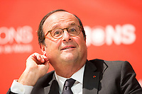 François Hollande signs his book & gives a conference at UMons university - Belgium