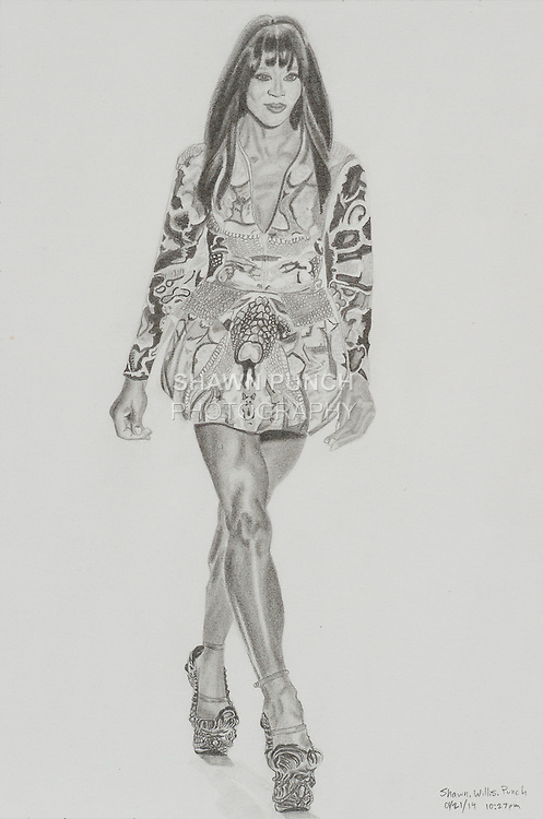 Naomi Campbell wears Alexander McQueen. 8 x 12 inches (20.32 x 30.48 cm).
