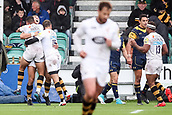 10th September 2017, Sixways Stadium, Worcester, England; Aviva Premiership Rugby, Worcester Warriors versus Wasps; Josh Bassett of Wasps celebrates with his players after scoring a try