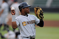 Catcher Eduardo de Oleo (21) of the Charleston RiverDogs warms up before a game against the Kannapolis Intimidators on Saturday, June 28, 2014, at CMC-Northeast Stadium in Kannapolis, North Carolina. Kannapolis won, 4-3. (Tom Priddy/Four Seam Images)