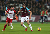 West Ham United's Andy Carroll and West Bromwich Albion's Claudio Yacob<br /> <br /> Photographer Rob Newell/CameraSport<br /> <br /> The Premier League - West Ham United v West Bromwich Albion - Tuesday 2nd January 2018 - London Stadium - London<br /> <br /> World Copyright &copy; 2018 CameraSport. All rights reserved. 43 Linden Ave. Countesthorpe. Leicester. England. LE8 5PG - Tel: +44 (0) 116 277 4147 - admin@camerasport.com - www.camerasport.com