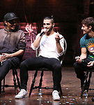 "Anthony Lee Medina, Giuseppe Bausilio and Thayne Jasperson during the eduHAM Q & A before The Rockefeller Foundation and The Gilder Lehrman Institute of American History sponsored High School student #EduHam matinee performance of ""Hamilton"" at the Richard Rodgers Theatre on November 20, 2019 in New York City."