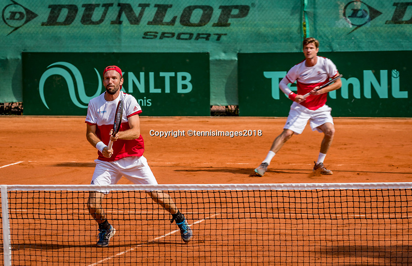 The Hague, Netherlands, 09 June, 2018, Tennis, Play-Offs Competition, Men's doubles: Antal van der Duim (back) and Gero Kretschmer<br /> Photo: Henk Koster/tennisimages.com