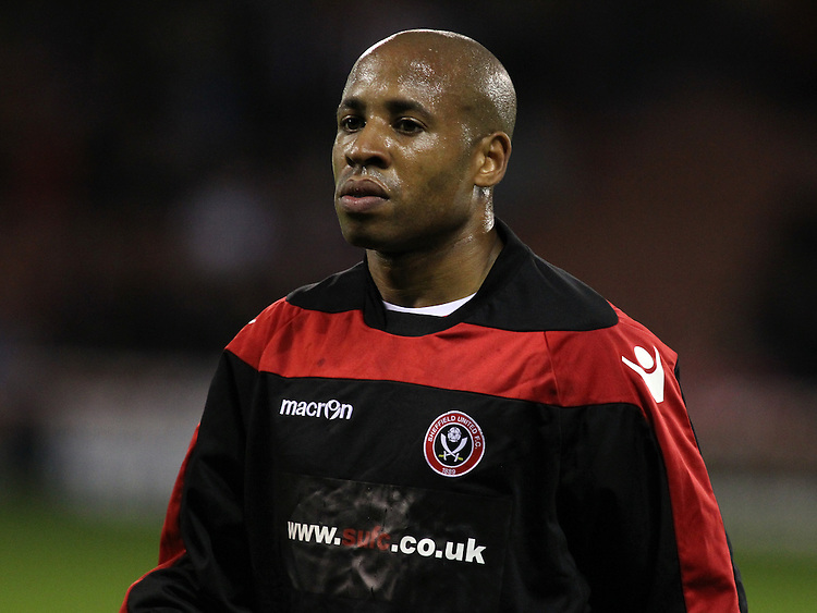 Sheffield United's Matthew Hill during the pre-match warm-up <br /> <br /> Photo by Rich Linley/CameraSport<br /> <br /> Football - The Football League Sky Bet League One -  Sheffield United v Crawley Town - Friday 4th October 2013 - Bramall Lane - Sheffield<br /> <br /> &copy; CameraSport - 43 Linden Ave. Countesthorpe. Leicester. England. LE8 5PG - Tel: +44 (0) 116 277 4147 - admin@camerasport.com - www.camerasport.com
