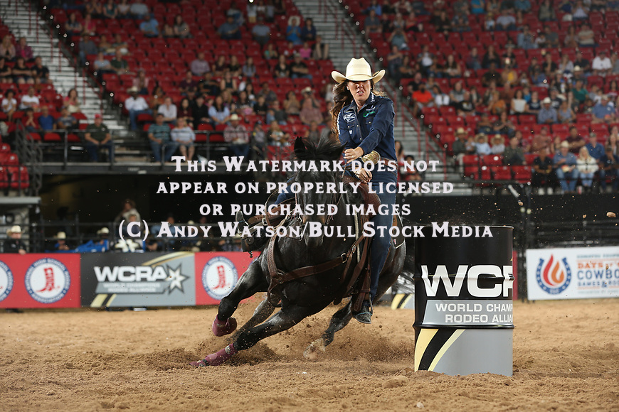 Nellie Miller for 14.208 during the first round of the Las Vegas WCRA rodeo. Photo by Andy Watson