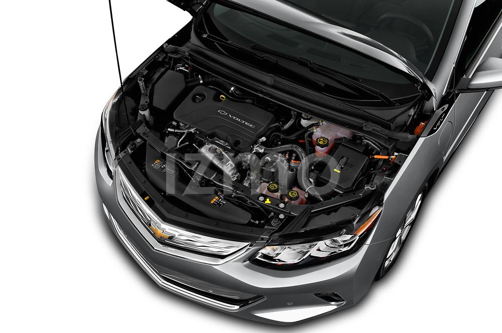Car Stock 2018 Chevrolet Volt Premier 5 Door Hatchback Engine  high angle detail view