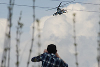 A battle helicopter of the Ukrainian forces is being blocked by local citizens near Kramatorsk city during the anti-terrorist operation.
