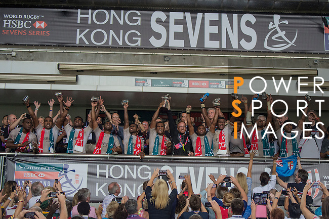 Fiji defeats New Zealand to become Cup Winners during the HSBC Hong Kong Rugby Sevens 2016 on 10 April 2016 at Hong Kong Stadium in Hong Kong, China. Photo by Li Man Yuen / Power Sport Images