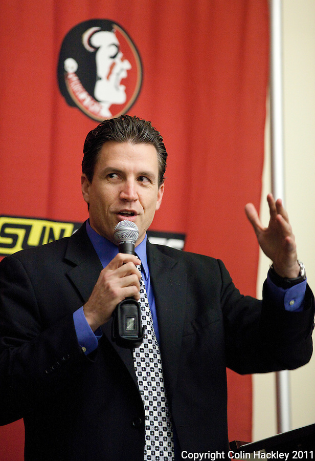 TALLAHASSEE, FLA. 2/2/11-FSUSIGN020211CH-Offensive Coordinator James Coley talks about the Seminole's new talent during the 2011 national signing day war party in Tallahassee...COLIN HACKLEY PHOTO