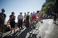 Nicolas Edet (FRA/Cofidis) up the Lacets du Grand Colombier (Cat1/891m/8.4km/7.6%)<br /> <br /> stage 15: Bourg-en-Bresse to Culoz (160km)<br /> 103rd Tour de France 2016