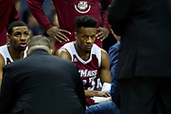 Washington, DC - MAR 7, 2018: Massachusetts Minutemen guard C.J. Anderson (23) in the huddle during a timeout of game between La Salle and UMass during first round action of the Atlantic 10 Basketball Tournament at the Capital One Arena in Washington, DC. (Photo by Phil Peters/Media Images International)