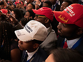 Attendees listen to United States President Donald J. Trump as he addresses the 2018 Young Black Leadership Summit at The White House in Washington, DC on Friday, October 26, 2018. <br /> Credit: Chris Kleponis / Pool via CNP