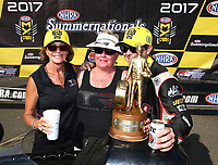 Jun 11, 2017; Englishtown , NJ, USA; NHRA top fuel driver Steve Torrence celebrates with crew after winning the Summernationals at Old Bridge Township Raceway Park. Mandatory Credit: Mark J. Rebilas-USA TODAY Sports